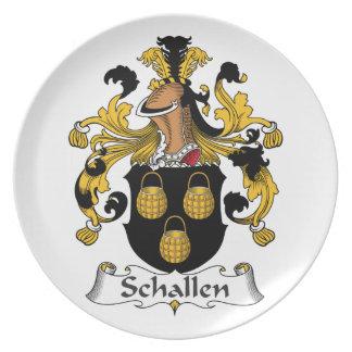 Escudo de la familia de Schallen Plato Para Fiesta