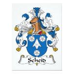 Escudo de la familia de Scheid Invitación 16,5 X 22,2 Cm