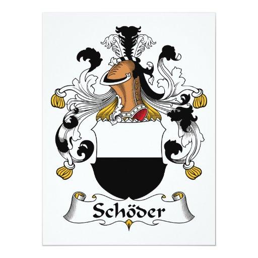 """Escudo de la familia de Schoder Invitación 6.5"""" X 8.75"""""""
