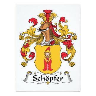 """Escudo de la familia de Schopfer Invitación 6.5"""" X 8.75"""""""