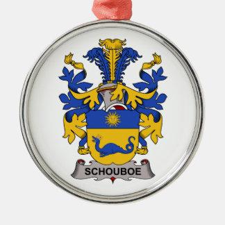 Escudo de la familia de Schouboe Adorno Redondo Plateado