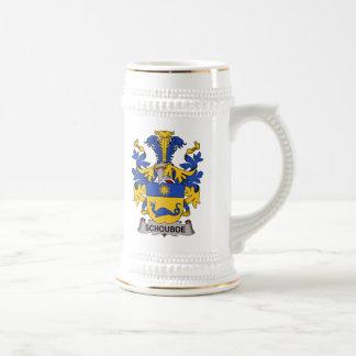 Escudo de la familia de Schouboe Jarra De Cerveza