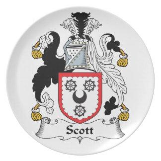 Escudo de la familia de Scott Plato Para Fiesta