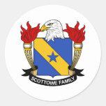 Escudo de la familia de Scottowe Pegatina Redonda