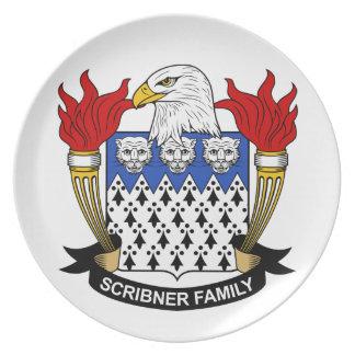Escudo de la familia de Scribner Plato Para Fiesta
