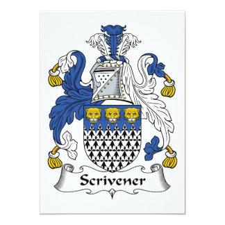"""Escudo de la familia de Scrivener Invitación 5"""" X 7"""""""
