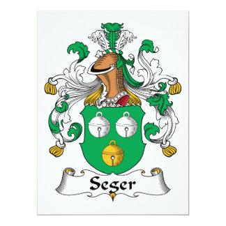 Escudo de la familia de Seger Invitación 16,5 X 22,2 Cm