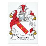 Escudo de la familia de Segrave Invitación 12,7 X 17,8 Cm