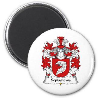 Escudo de la familia de Sepiaglowa Imán Redondo 5 Cm