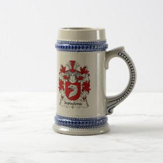 Escudo de la familia de Sepiaglowa Jarra De Cerveza