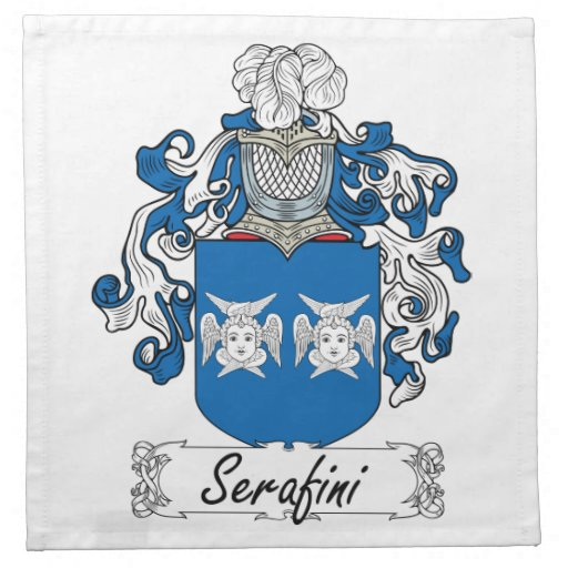 Escudo de la familia de Serafini Servilletas
