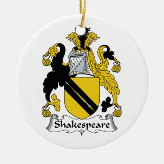 Escudo de la familia de Shakespeare Adorno Redondo De Cerámica
