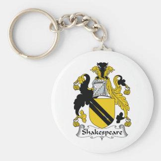 Escudo de la familia de Shakespeare Llavero Redondo Tipo Pin