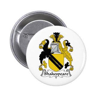 Escudo de la familia de Shakespeare Pin Redondo 5 Cm