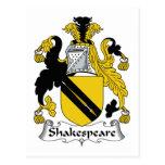 Escudo de la familia de Shakespeare Postal