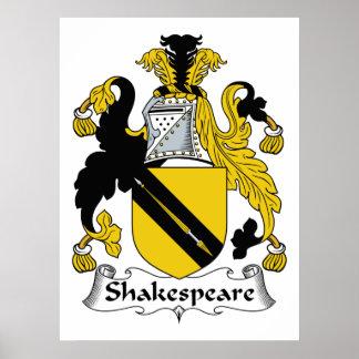 Escudo de la familia de Shakespeare Póster