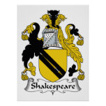 Escudo de la familia de Shakespeare Posters