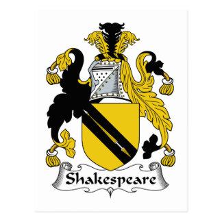 Escudo de la familia de Shakespeare Tarjetas Postales