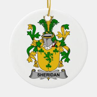 Escudo de la familia de Sheridan Adorno Navideño Redondo De Cerámica