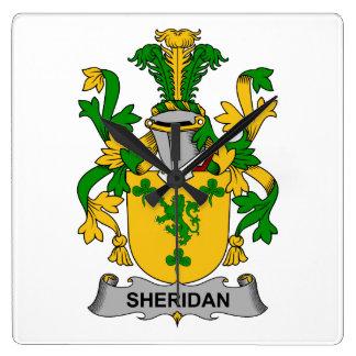 Escudo de la familia de Sheridan Reloj Cuadrado