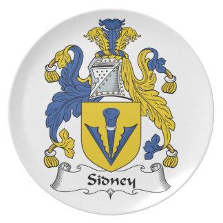 Escudo de la familia de Sidney Platos Para Fiestas