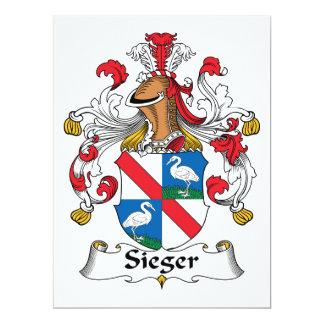 Escudo de la familia de Sieger Invitación 16,5 X 22,2 Cm