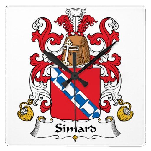 Escudo de la familia de Simard Reloj Cuadrado