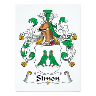 Escudo de la familia de Simon Invitación 16,5 X 22,2 Cm