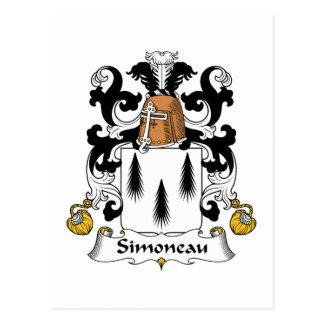 Escudo de la familia de Simoneau Tarjetas Postales