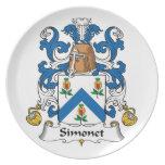 Escudo de la familia de Simonet Platos Para Fiestas