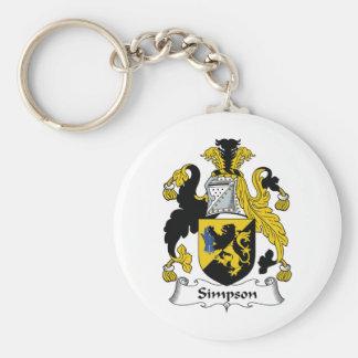 Escudo de la familia de Simpson Llavero Redondo Tipo Pin