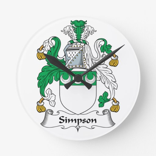 Escudo de la familia de Simpson Reloj De Pared