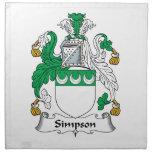 Escudo de la familia de Simpson Servilleta Imprimida