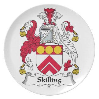 Escudo de la familia de Skilling Plato Para Fiesta