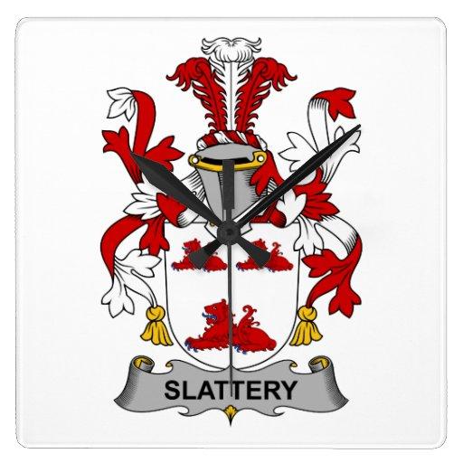 Escudo de la familia de Slattery Reloj Cuadrado