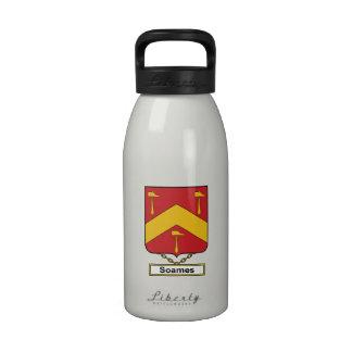 Escudo de la familia de Soames Botellas De Agua Reutilizables