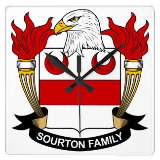 Escudo de la familia de Sourton Reloj Cuadrado