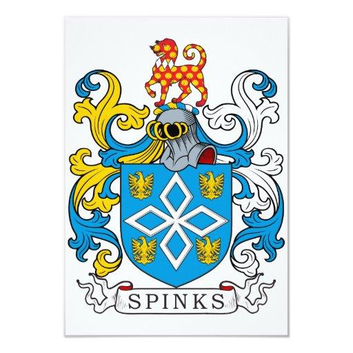Escudo de la familia de Spinks Invitación 8,9 X 12,7 Cm