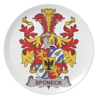 Escudo de la familia de Sponeck Plato De Comida