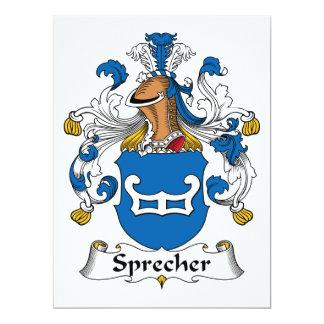 Escudo de la familia de Sprecher Invitación 16,5 X 22,2 Cm