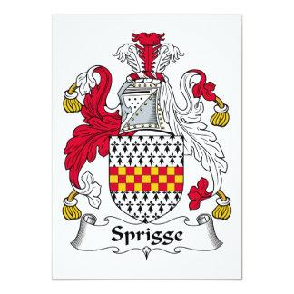 Escudo de la familia de Sprigge Invitación 12,7 X 17,8 Cm
