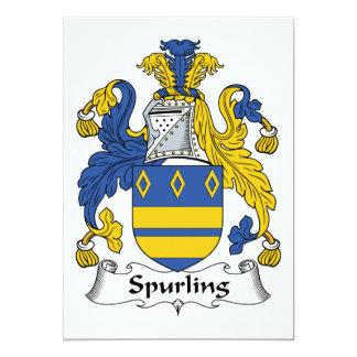 Escudo de la familia de Spurling Invitación 12,7 X 17,8 Cm