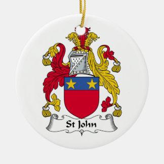Escudo de la familia de St John Adorno Navideño Redondo De Cerámica