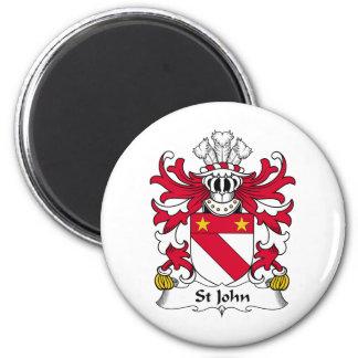 Escudo de la familia de St John Imán Redondo 5 Cm