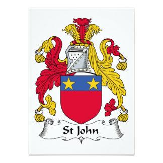 """Escudo de la familia de St John Invitación 5"""" X 7"""""""