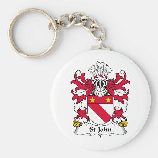 Escudo de la familia de St John Llavero Redondo Tipo Pin