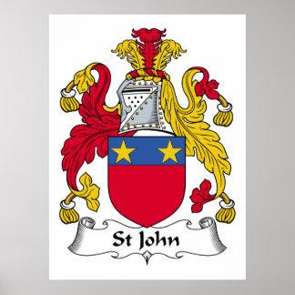 Escudo de la familia de St John Póster