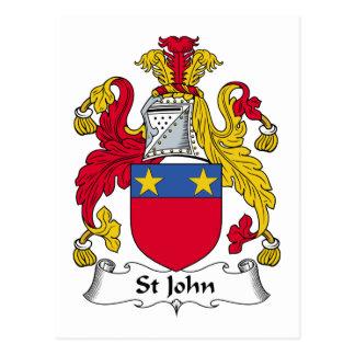 Escudo de la familia de St John Tarjetas Postales