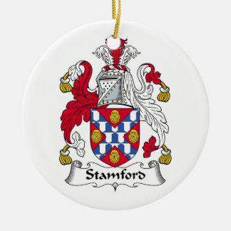 Escudo de la familia de Stamford Adorno Navideño Redondo De Cerámica