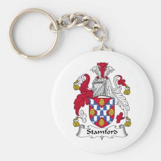 Escudo de la familia de Stamford Llavero Redondo Tipo Pin